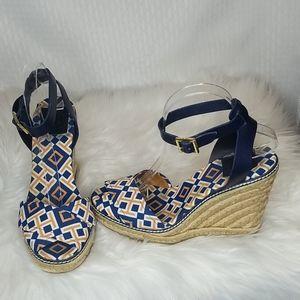 Tory Burch logo wedge espadrille wedge sandals